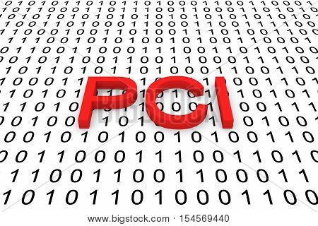 PCI in the form of binary code, 3D illustration
