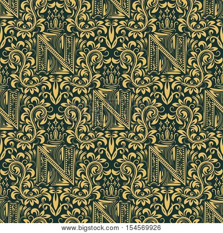 Damask seamless pattern repeating background. Gold black floral ornament with N letter and crown in baroque style. Antique golden repeatable wallpaper.