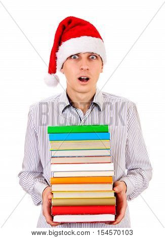 Surprised Student in Santa Hat with a Books on the White Background