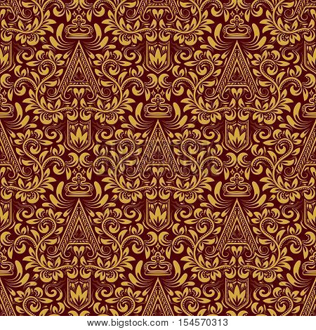 Damask seamless pattern repeating background. Gold red floral ornament with A letter and crown in baroque style. Antique golden repeatable wallpaper.