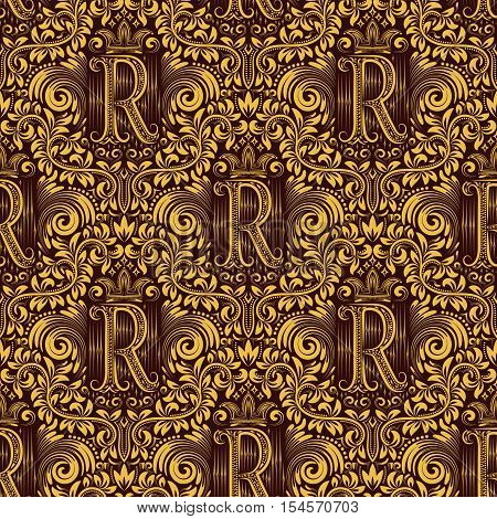Damask seamless pattern repeating background. Gold maroon floral ornament with R letter and crown in baroque style. Antique golden repeatable wallpaper.