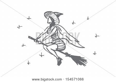 Vector hand drawn Halloween concept sketch. Halloween magic woman flying on broomstick in night sky full of stars