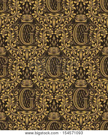 Damask seamless pattern repeating background. Gold black floral ornament with G letter and crown in baroque style. Antique golden repeatable wallpaper.