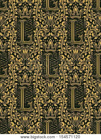 Damask seamless pattern repeating background. Gold green floral ornament with L letter and crown in baroque style. Antique golden repeatable wallpaper.