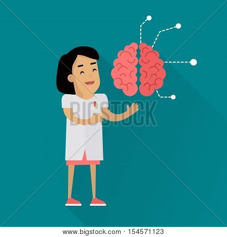Scientists woman in white robe at work. Scientist medic exploring the human brain. Scientists in lab. Science and technology development, scientific research, lab research. Science background