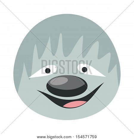 Sloth face vector. Flat design. Animal head cartoon icon. Illustration for nature concepts, children s books illustrating, printing materials, web. Funny mask or avatar. Isolated on white background
