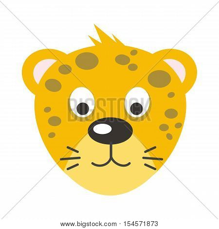 Leopard face vector. Flat design. Animal head cartoon icon. Illustration for nature concepts, children s books illustrating, printing materials, web. Funny mask or avatar. Isolated on white background