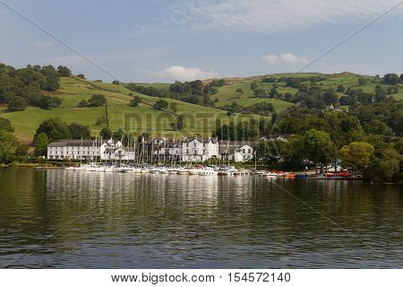 View of Yachts and Buildings of Low Wood Bay n Lake Windermere Cumbria UK