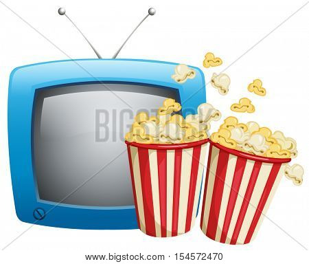 Two boxes of popcorn and television illustration