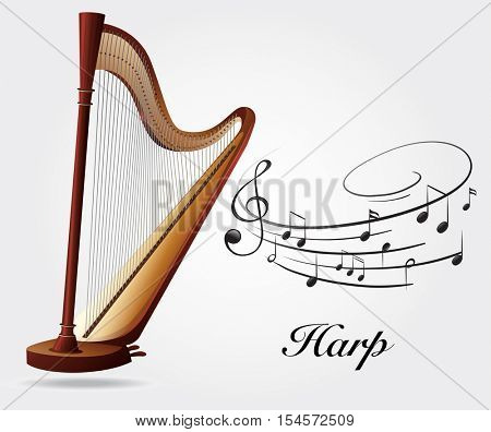 Harp and music notes illustration