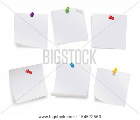 Realistic vector illustration set of white note papers with different color pushpins isolated on white