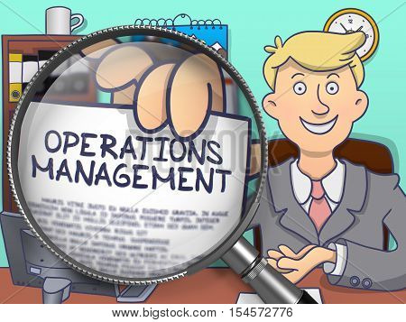 Businessman Showing Paper with Text Operations Management. Closeup View through Magnifier. Multicolor Doodle Illustration.