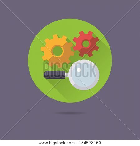 SEO marketing symbol. Search engine optimization flat design long shadow vector icon with magnifying glass and cogs.
