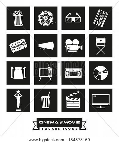 Cinema and Movie icon set. Collection of 16 cinema and movie related vector icons in colored squares with rounded corners