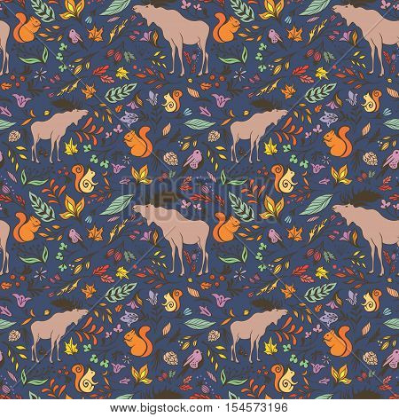 Seamless hand-painted texture with forest animals, trees and flowers on indigo blue background