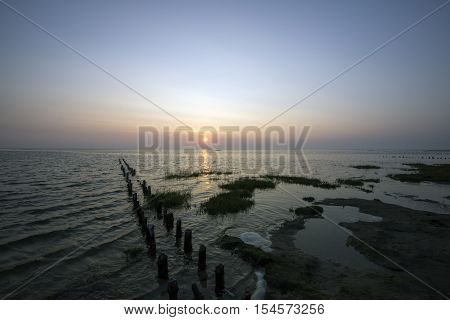 High tide and sunset at the Wadden Sea on Mando. Danish Wadden Sea National Park.