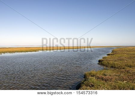 High tide between Mando and Koresand in the Wadden Sea off the port of Esbjerg in Denmark.