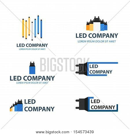 Led Bulb Logo Set. Led Company Logo. Led Illumination. Corporate Logo Design.