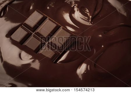 Closeup of tasty melted chocolate bar