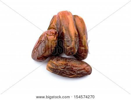 Dates on white background for food background