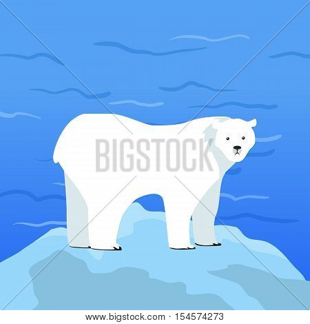 Polar bear Ursus maritimus on piece of ice with Arctic Ocean on background. Arctic wild animal. Carnivorous bear at Arctic Circle. Wildlife of North Pole. White bear. Vector illustration in flat style