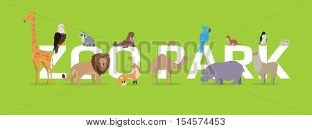 Zoo park vector concept. Flat style. Horizontal banner with exotic wild animals illustrations. Birds and mammals standing, sitting, lying on green background and letters. For zoo ad, web design