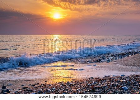 Sunrise view at the Aegean sea coast. Platamonas Pieria Macedonia Greece Europe