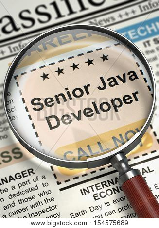 Senior Java Developer - Close View Of A Classifieds Through Loupe. Column in the Newspaper with the Job Vacancy of Senior Java Developer. Job Search Concept. Blurred Image. 3D Illustration.