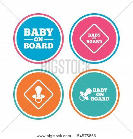 Baby on board icons. Infant caution signs. Nipple pacifier symbol. Colored circle buttons. Vector
