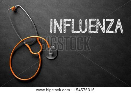 Medical Concept: Influenza Handwritten on Black Chalkboard. Medical Concept: Black Chalkboard with Influenza. 3D Rendering.