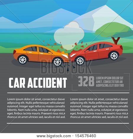 Car accident infographics. Car crash template flat style. Two cars hit head-on vector illustration. Business letterhead template. Accident road situation.