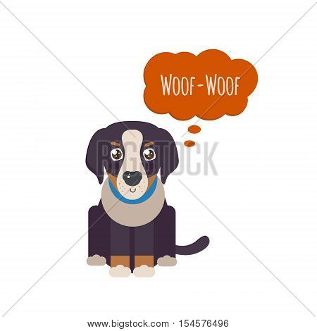 Bernese Mountain Dog puppy saying 'woof-woof'