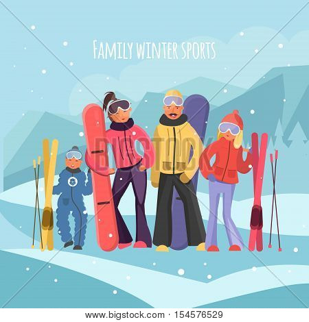 Skier family on vacation. Family winter sports vector illustration. Family with snowboards and skis. Parents with children on winter vacation. Family vacation concept.