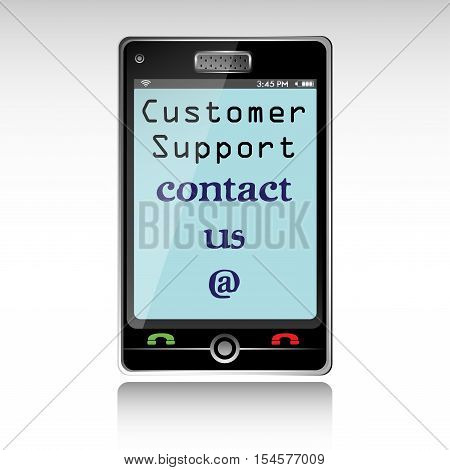 Isolated smartphone with the text customer support, contact us, written on its screen