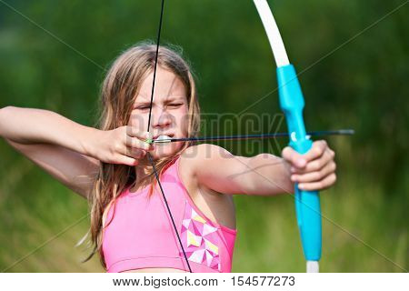 Girl Teenager With Bow Nock And Aims