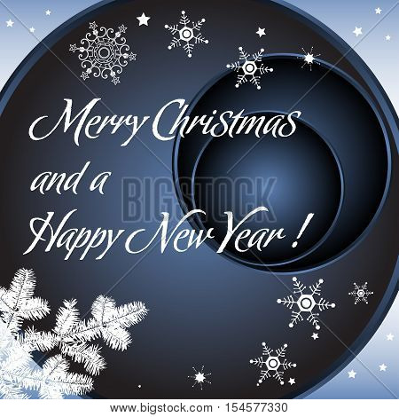 Dark blue background with fir tree branch, white snowflakes and the text Merry Christmas and a Happy New Year written in white