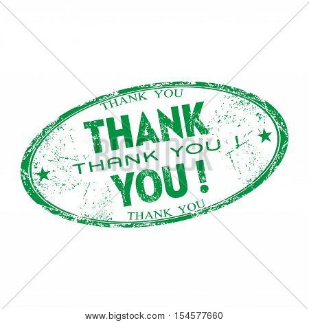 Green grunge rubber oval stamp with the text thank you written inside the stamp