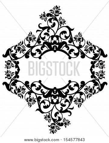 rose fowers black and white vintage style vector decorative design