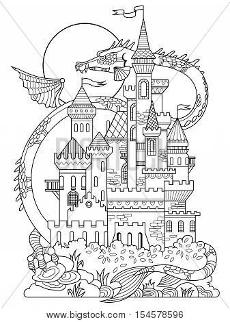 Castle and dragon vector illustration. Fairy drawing for children. Anti-stress coloring for adult. Tattoo stencil. Zentangle style. Black and white lines. Lace pattern