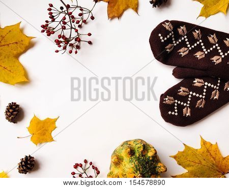 Stylish Composition With Pumpkins, Mittens, Autumn Leaves, Berries. Top View On White Background. Au