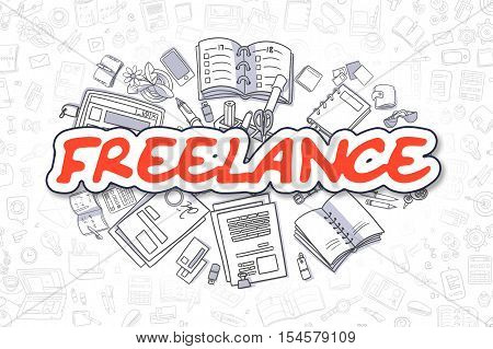 Freelance - Sketch Business Illustration. Red Hand Drawn Text Freelance Surrounded by Stationery. Doodle Design Elements.