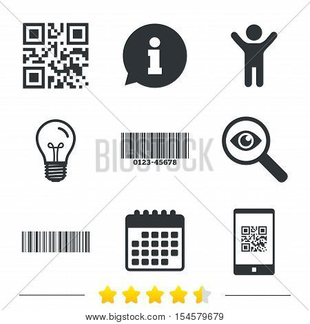 Bar and Qr code icons. Scan barcode in smartphone symbols. Information, light bulb and calendar icons. Investigate magnifier. Vector