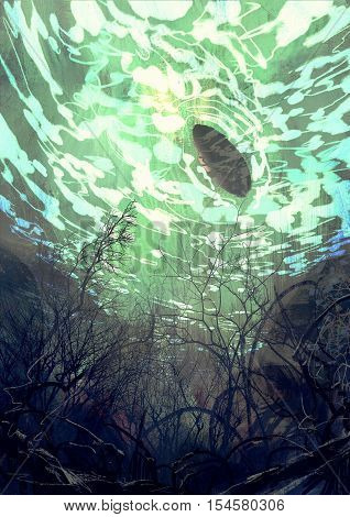 underwater view with the tree branch and stones, waves and reflection of the sun, illustration painting