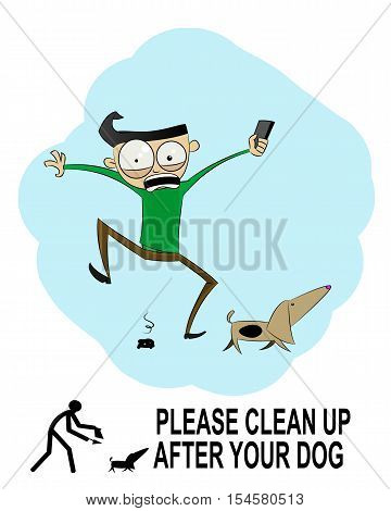 Clean up after your dog sign made in cartoon style. Vector