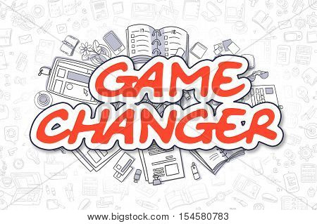 Red Text - Game Changer. Business Concept with Doodle Icons. Game Changer - Hand Drawn Illustration for Web Banners and Printed Materials.