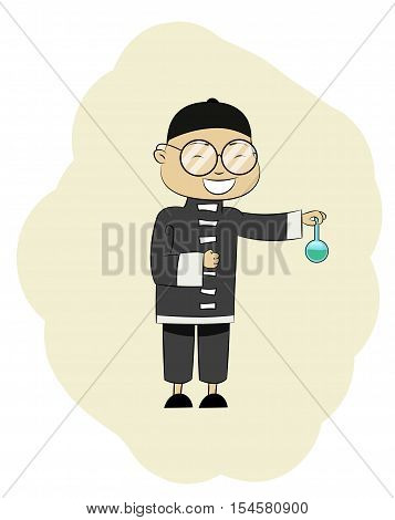 Fun chinese pharmacist with the cone wonder drug. Chinese traditional medicine concept illustration. Vector