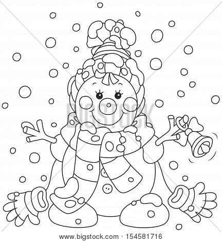 Funny Christmas snowman friendly smiling and ringing a small bell, wearing a scarf, a cap and mittens poster