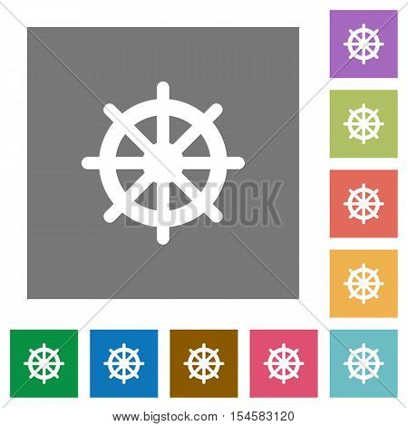 Steering wheel flat icons on simple color square background.