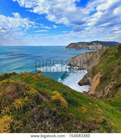 Summer Ocean Bay Coastline View.