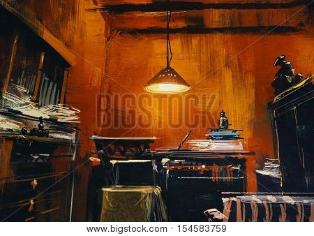 old vintage workspace in orange room, illustration digital painting